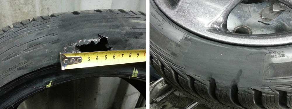 ремонт бокового пореза - до и после